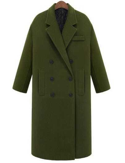 Army Green Lapel Double Breasted Pockets Long Coat