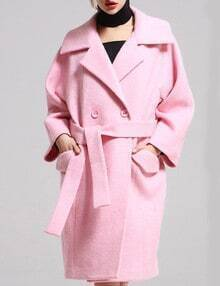 Pink Lapel Pockets Loose Coat