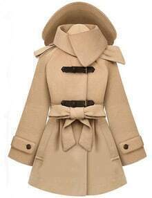 Camel Lapel Double Breasted Pockets Long Coat