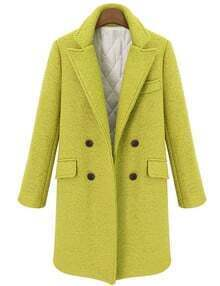 Olive Lapel Double Breasted Pockets Coat