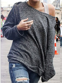 Grey Round Neck Loose Sweatshirt