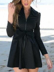 Black Lapel Zipper Bow Flare Dress