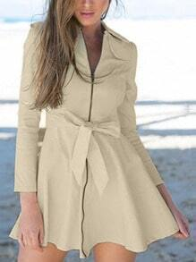 Beige Lapel Zipper Bow Flare Dress