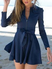Navy Lapel Zipper Bow Flare Dress
