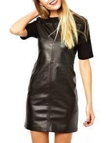 Black Short Sleeve Zipper Sheath Dress