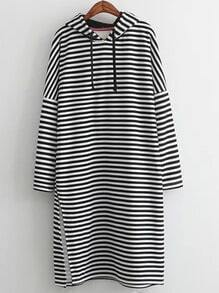 Black Hooded Striped Slip Sweatshirt Dress
