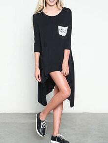 Black Contrast Pocket Asymmetrical Tshirt Dress