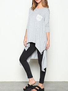 Grey Contrast Pocket Asymmetrical Tshirt Dress