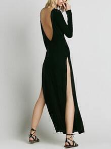Black Long Sleeve Open Back Split Dress
