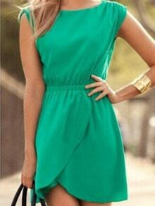 Green Sleeveless Wrap Waist Dress
