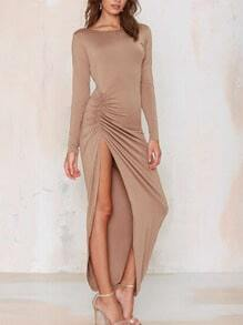 Khaki Long Sleeve Open Back Slit Ruched Dress