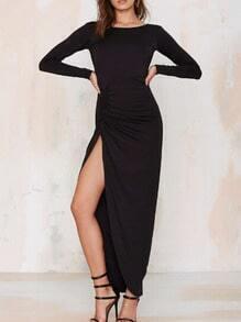 Black Long Sleeve Open Back Slit Ruched Dress