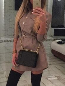 Khaki Lapel Belt Pockets Buttons Shirt Dress