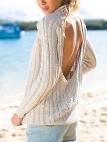 Beige Turtleneck Open Back Sweater