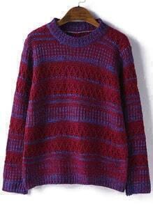 Burgundy Round Neck Striped Hollow Sweater