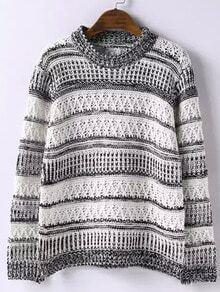 Beige Round Neck Striped Hollow Sweater