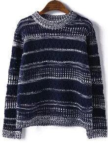 Navy Round Neck Striped Hollow Sweater