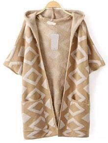 Khaki Hooded Elbow Sleeve Diamond Patterned Coat