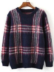 Navy Round Neck Plaid Loose Sweater
