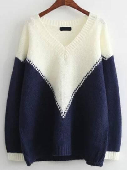 Color-block V Neck Loose Sweater