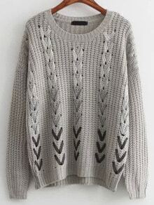Grey Round Neck Hollow Ribbon Sweater