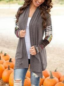 Grey Contrast Sleeve Plaid Coat
