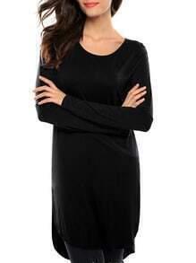 Black Long Sleeve High Low T-shirt