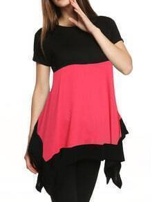 Rose Red Round Neck Asymmetrical T-shirt