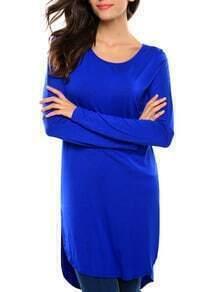 Blue Long Sleeve High Low T-shirt