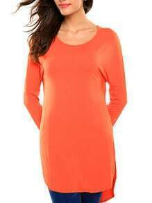 Orange Long Sleeve High Low T-shirt