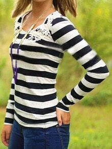 Black Contrast Lace Striped T-shirt