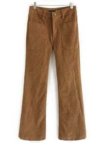 Khaki Pockets Bell Pant