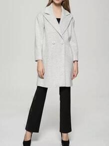 Beige Lapel Double Breasted Long Coat