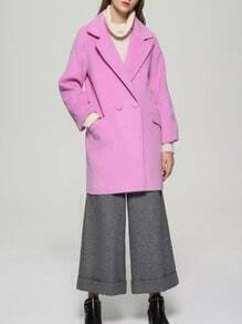 Rose Red Lapel Double Breasted Pockets Long Coat