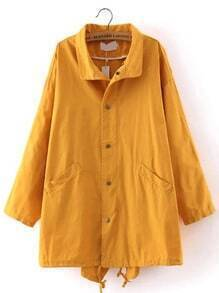 Yellow Lapel Zipper Pockets Drawstring Coat
