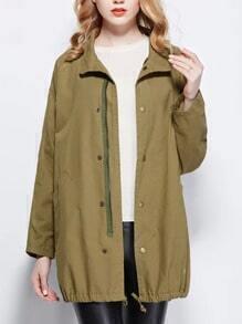 Army Green Lapel Zipper Pockets Drawstring Coat