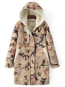 Color Hooded Zipper Camo Pockets Long Coat