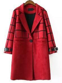 Red Lapel Plaid Single Button Long Coat