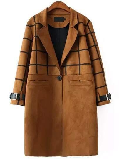 Camel Lapel Plaid Single Button Long Coat