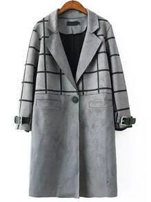 Grey Lapel Plaid Single Button Long Coat