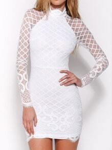 White Stand Collar Sheer Lace Bodycon Dress