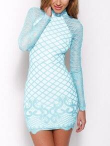 Blue Stand Collar Sheer Lace Bodycon Dress