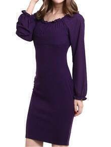 Purple Frill Neck Slim Chiffon Dress
