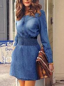 Blue Round Neck Bleached Denim Dress