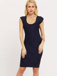 Navy Round Neck Shirred Bodycon Dress