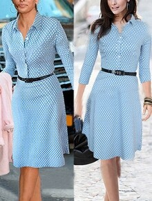 Blue Lapel Long Sleeve Polka Dot Dress