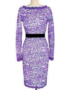 Purple Round Neck Lace Pencil Dress