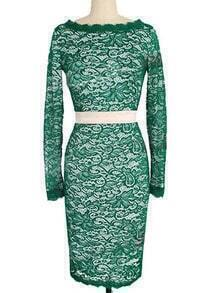 Green Round Neck Lace Pencil Dress