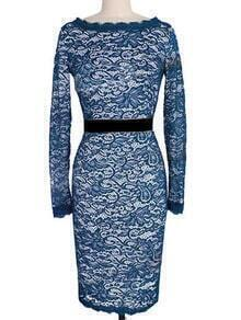 Blue Round Neck Lace Pencil Dress