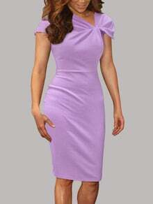 Purple Rouched Collar Cap Sleeve Pencil Dress